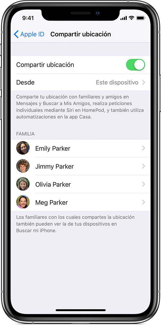 iPhone donde se muestra la pantalla de Compartirmiubicación con la opción Compartirmiubicación activada