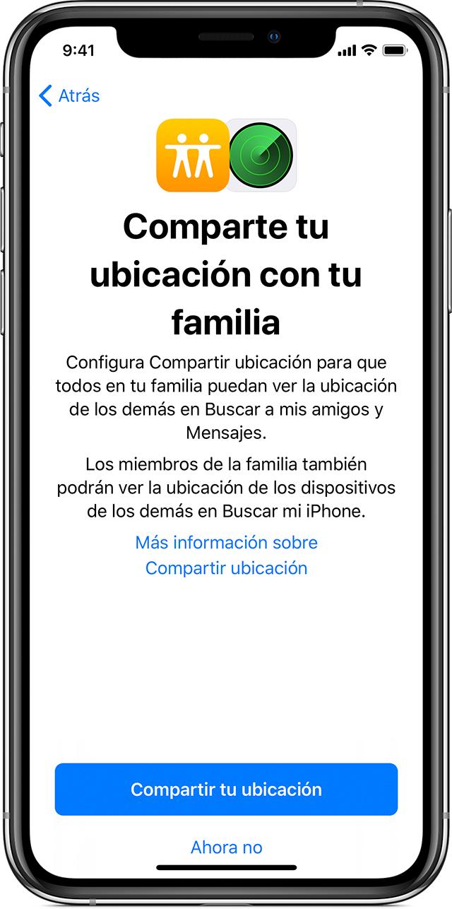 iPhone donde se muestra la opción para compartir tu ubicación con la familia