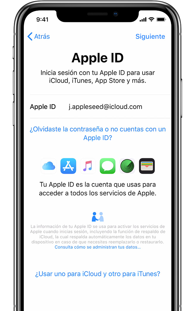 Pantalla de configuración de Apple ID en el iPhone