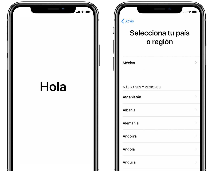 Pantalla de saludo y pantalla de selección de país o región en el iPhone