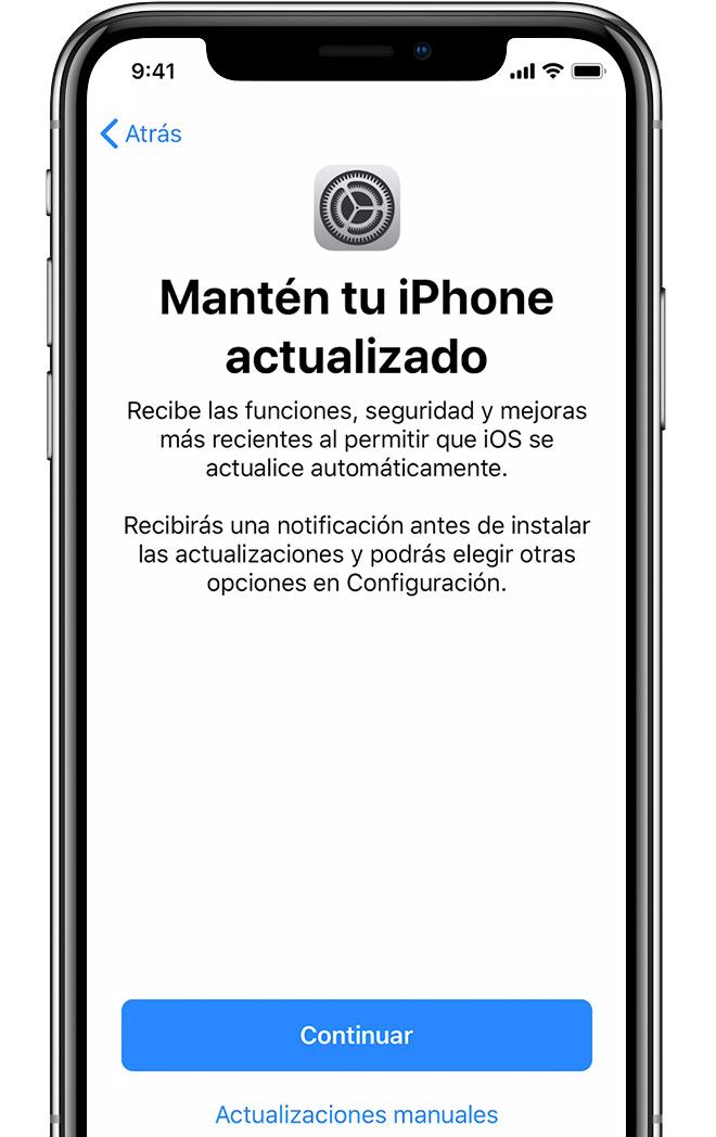 Pantalla de configuración de actualizaciones automáticas en el iPhone