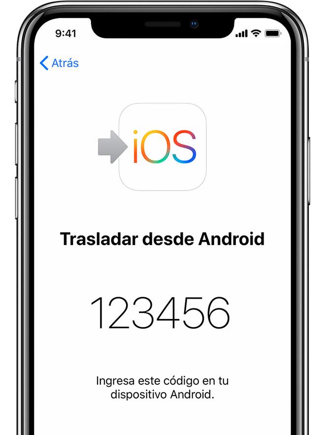 pantalla de Trasladar contenido de Android en iPhone en la que aparece un código