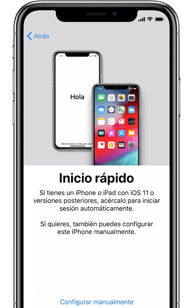Pantalla Iniciorápido en el iPhone