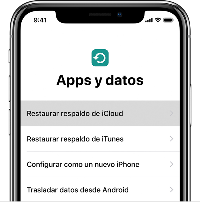 Pantalla Apps y datos