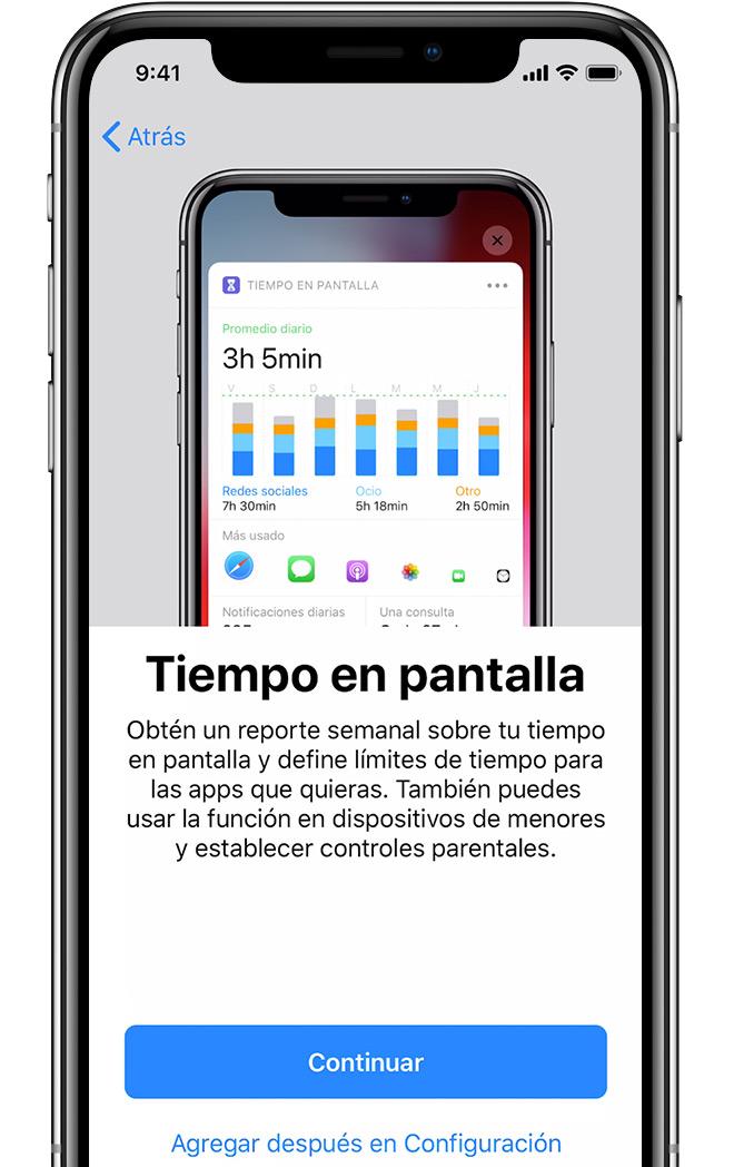 Pantalla de configuración de Tiempo en pantalla en el iPhone