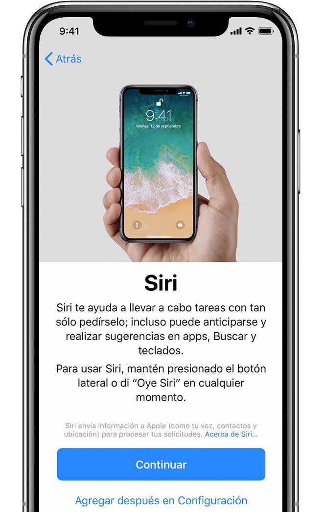 Pantalla de configuración de Siri en el iPhone