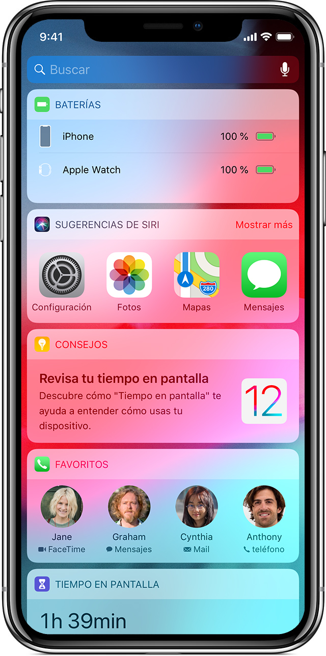 pantalla en la que se muestran widgets en el iPhoneX