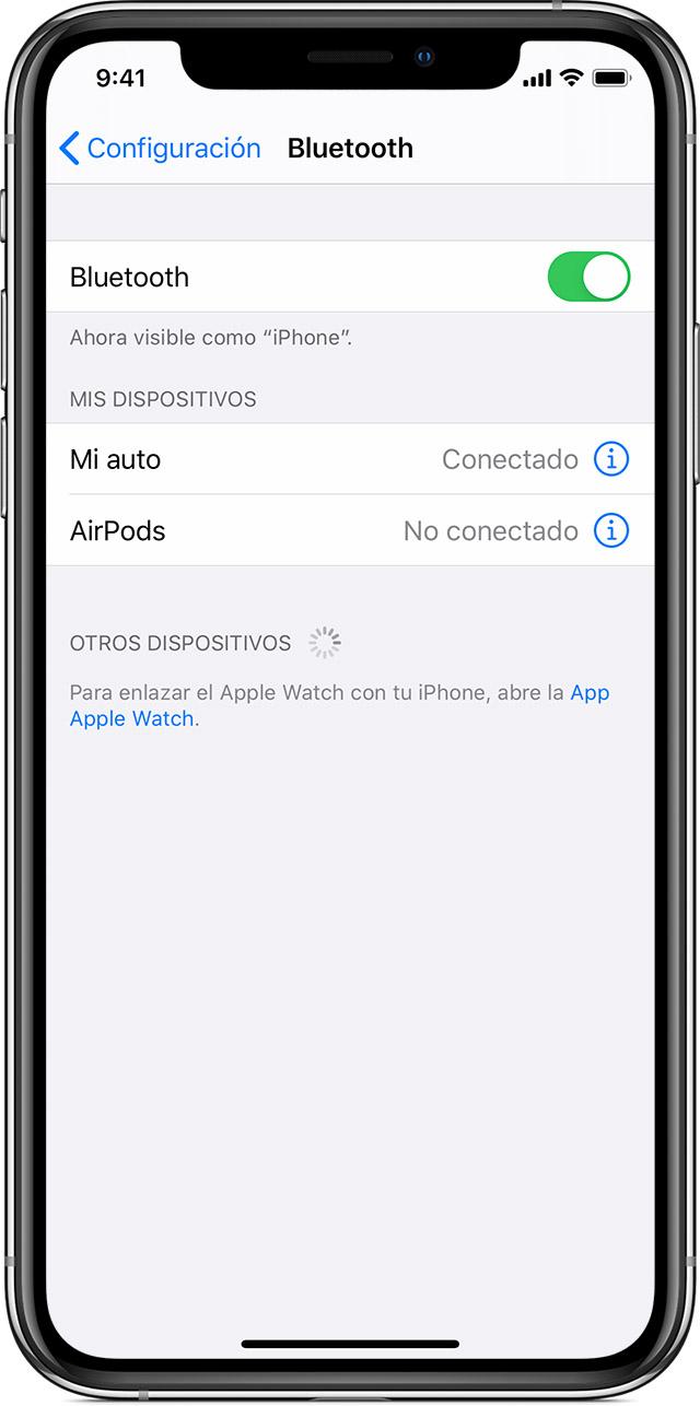 Enlazar un accesorio Bluetooth de terceros con el iPhone