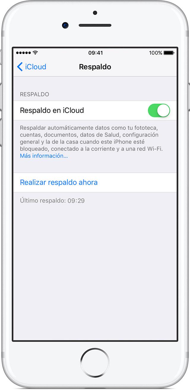 Activar Respaldo en iCloud en el iPhone