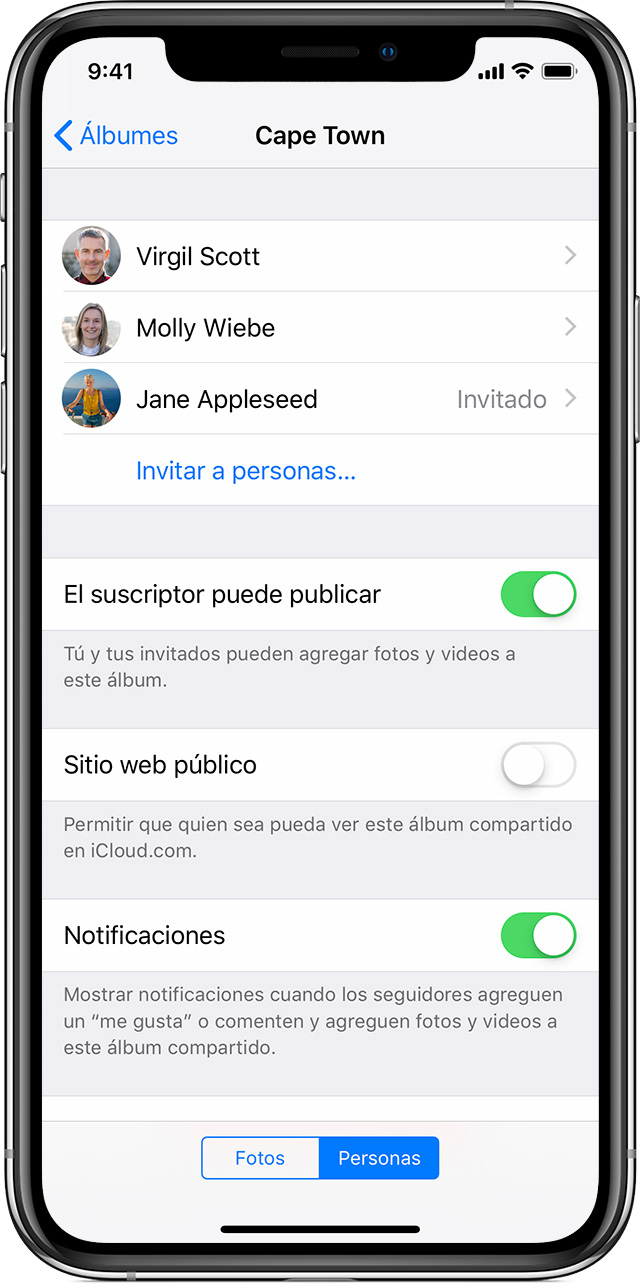 invitación a personas a un Álbum compartido en iPhone