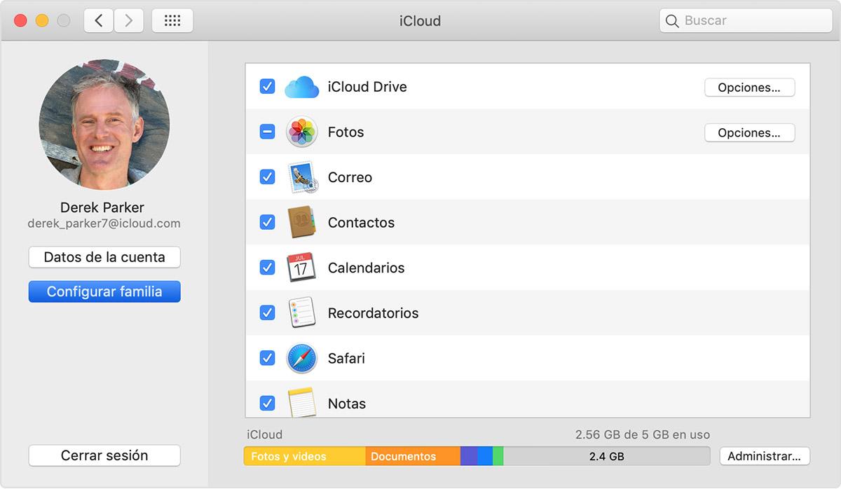 Mac donde se muestra la opción Configurarfamilia