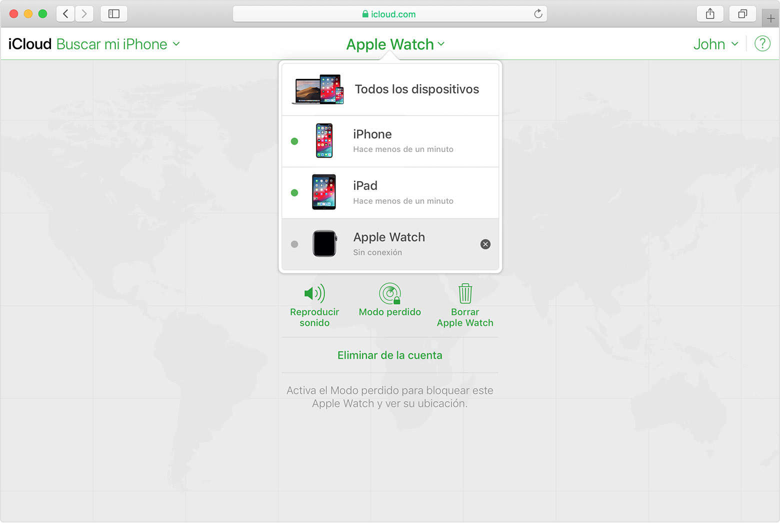 Buscar mi iPhone de iCloud muestra el Apple Watch de John