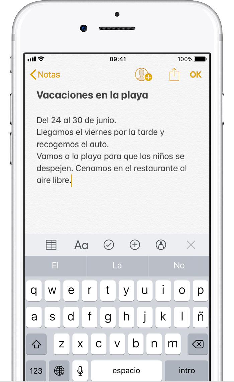 Usar Notas en un iPhone, iPad y iPod touch - Soporte técnico de Apple
