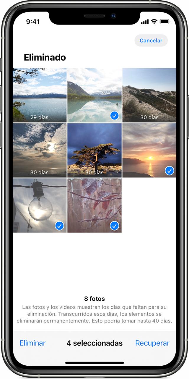 Cuatrofotos seleccionadas en la appFotos