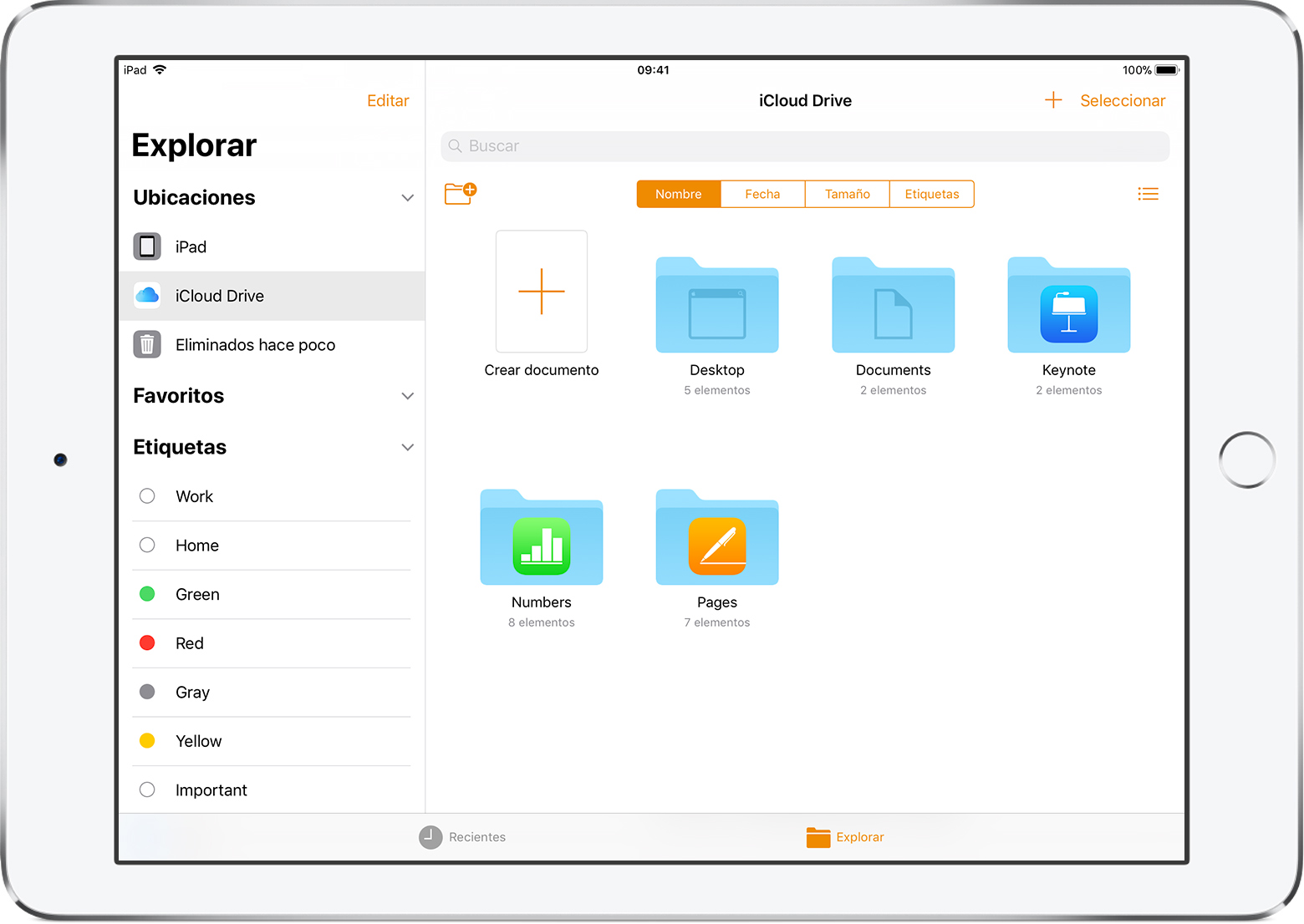 Organiza los documentos de Pages, Numbers y Keynote en el iPad