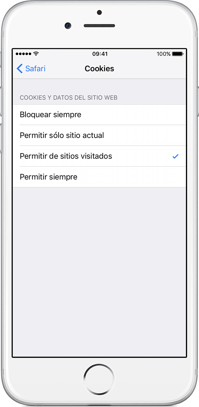 Configuración de cookies en iPhone