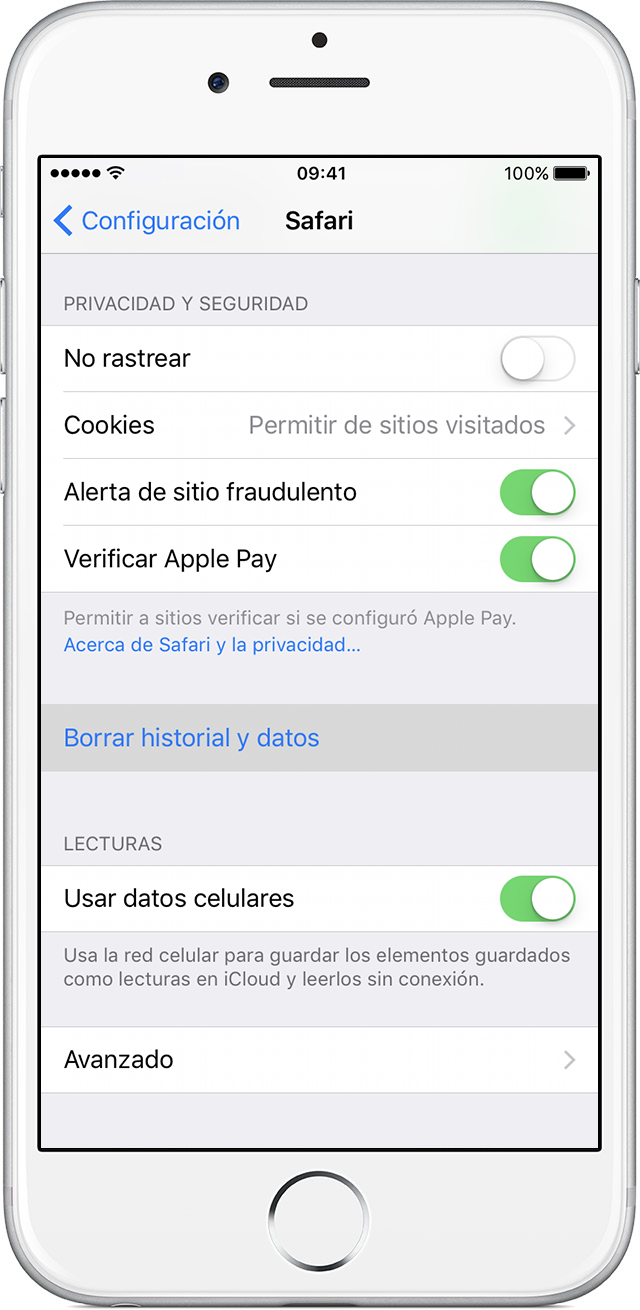 Configuración de Safari en iPhone