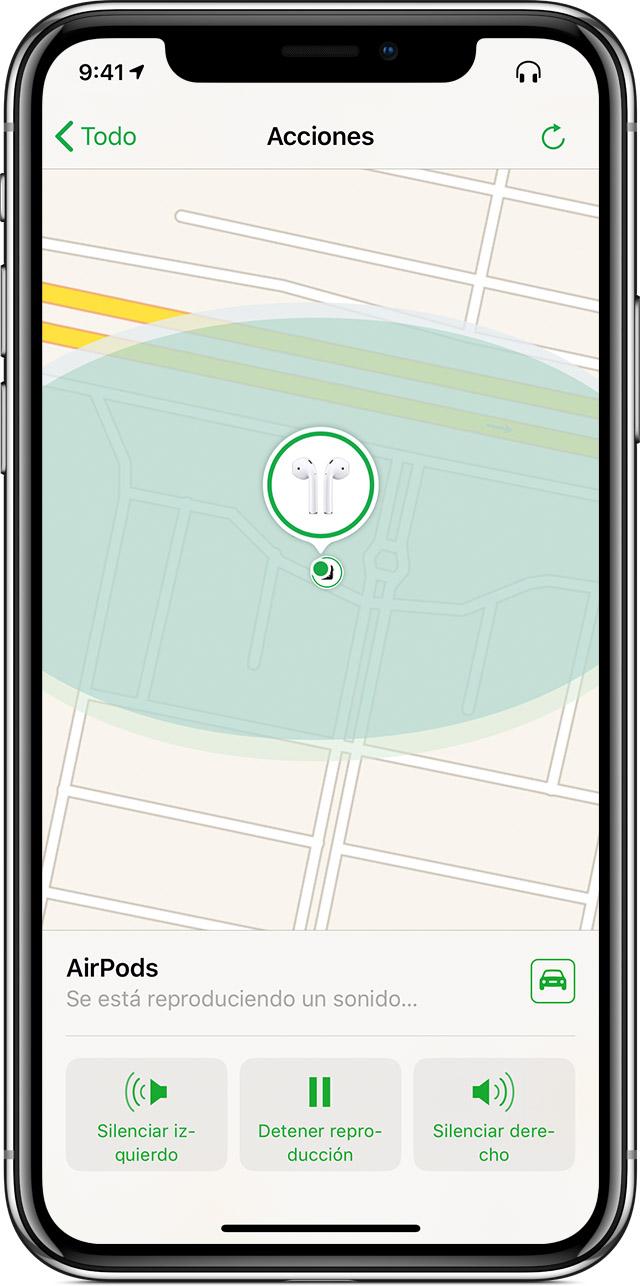 iPhone donde se muestra la pantalla Acciones