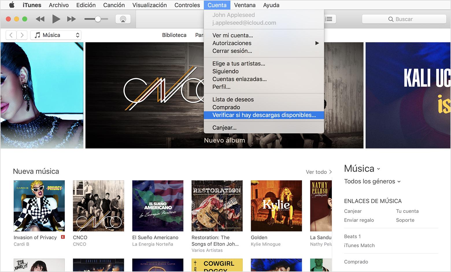Si la música, las películas o los programas de televisión de iTunes ...