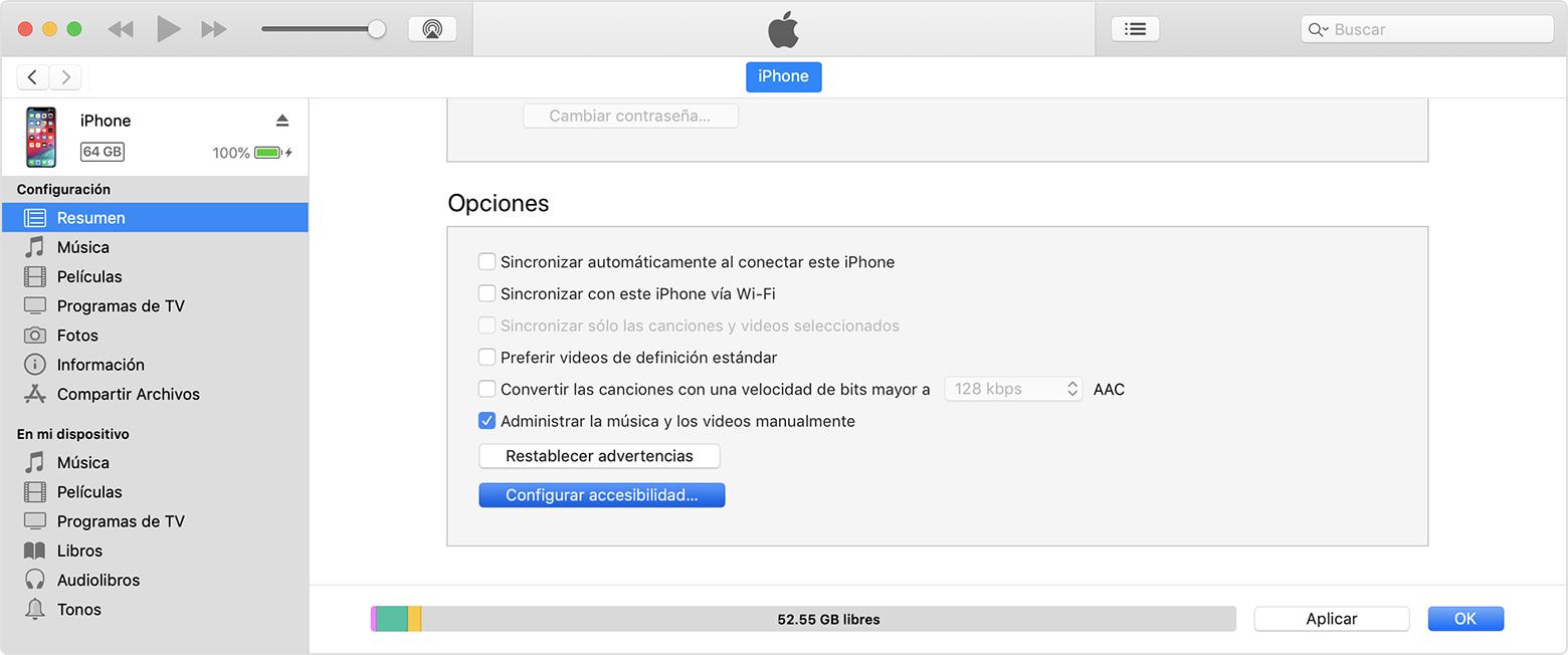Desactivar el Zoom en iTunes