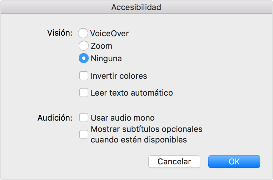 Preferencias de iTunes para desactivar el Zoom