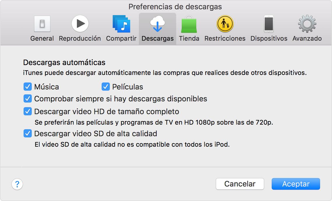 Activar las descargas automáticas para las compras en iTunes Store ...