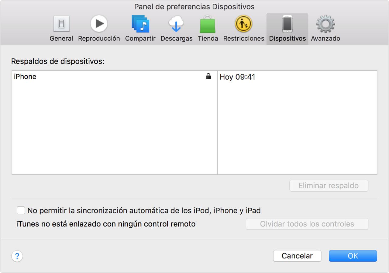 Buscar respaldos recientes en iTunes desde Preferencias > Dispositivos
