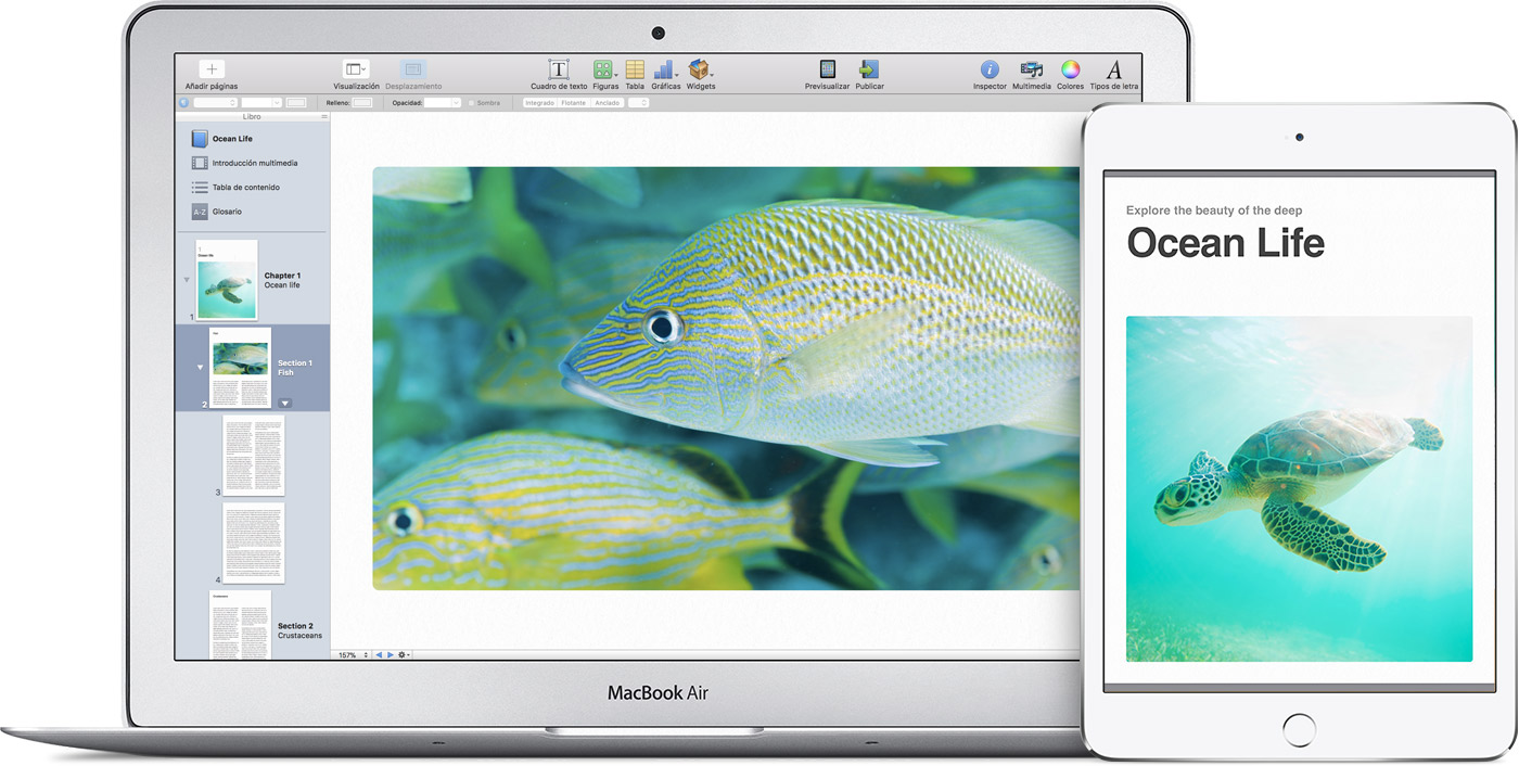 Una MacBook Air en la que se muestra un proyecto de iBooks Author con fotos de peces tropicales y el libro completo en el iPad.