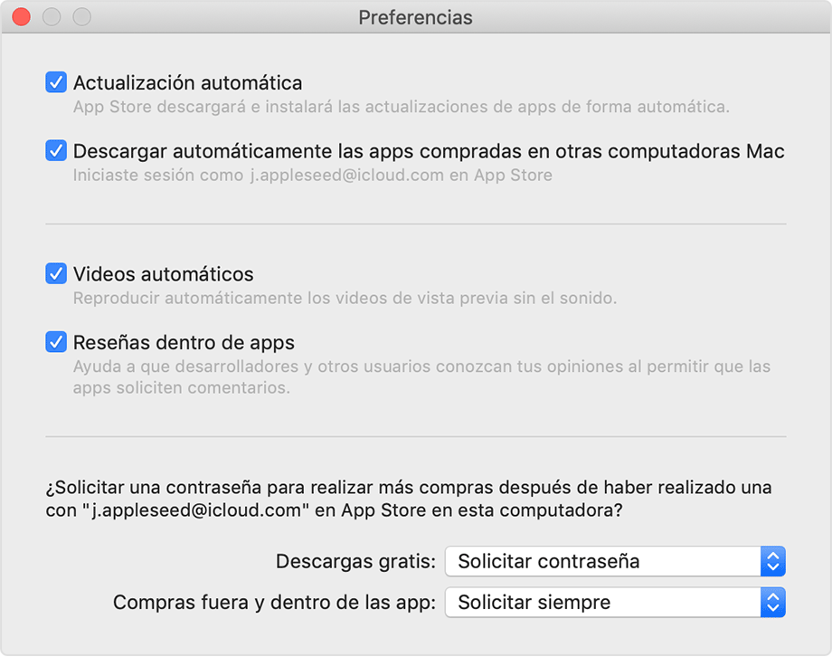 El panel de Preferencias de App Store.