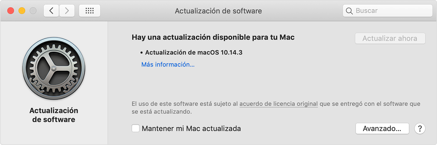Preferencias de actualización de software