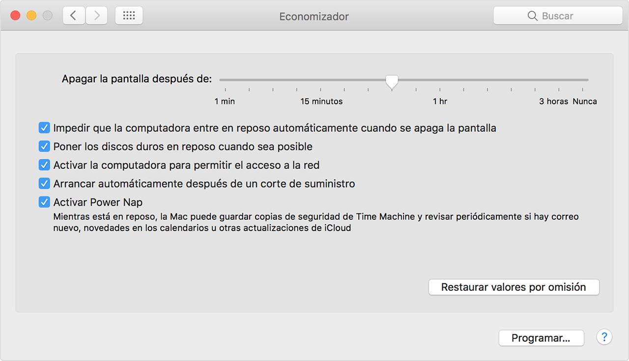 Usar la configuración Economizador en tu Mac - Soporte técnico de Apple
