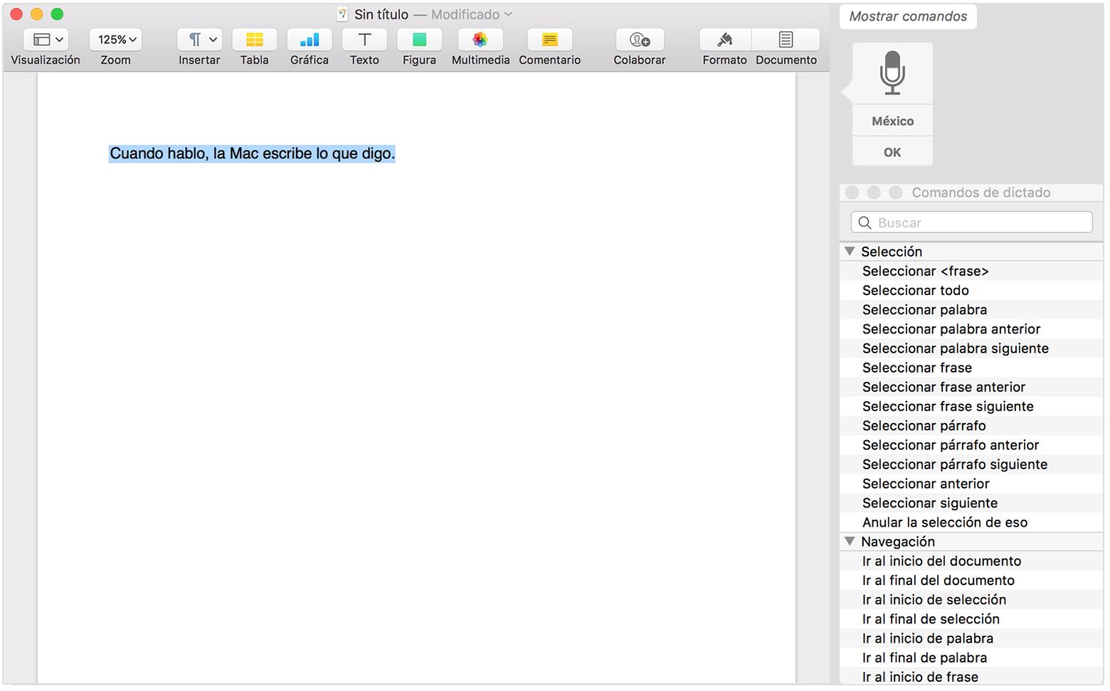 Usar comandos de dictado para darle instrucciones a tu Mac - Soporte ...