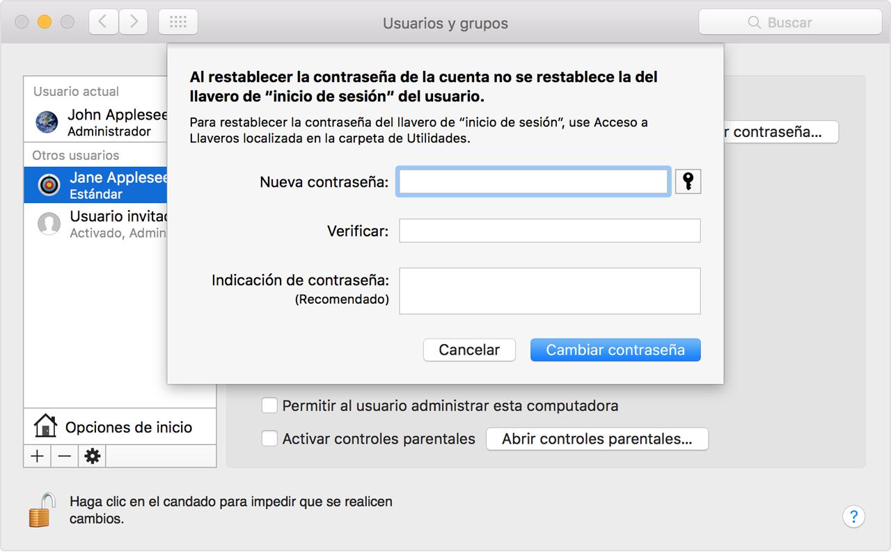 Cambiar o restablecer la contraseña de una cuenta de usuario de ...
