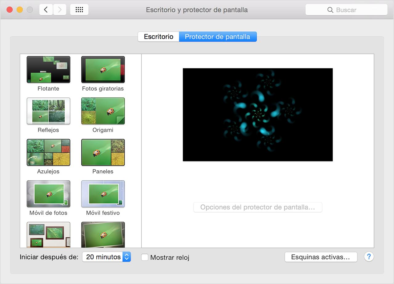C mo mostrar un protector de pantalla en la mac soporte - Protector escritorio ...