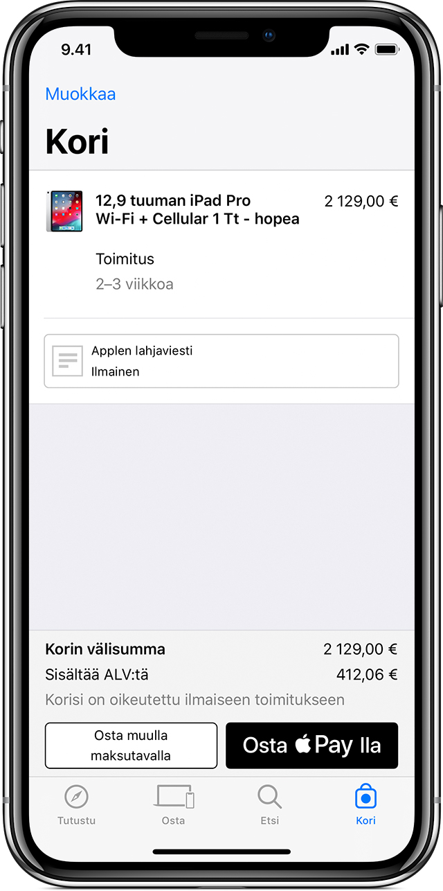 Ostaminen Apple Paylla apeissa