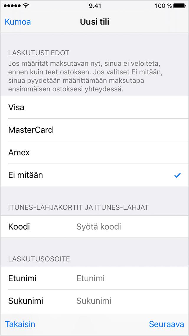 App storeen ei saada yhteyttä iphone