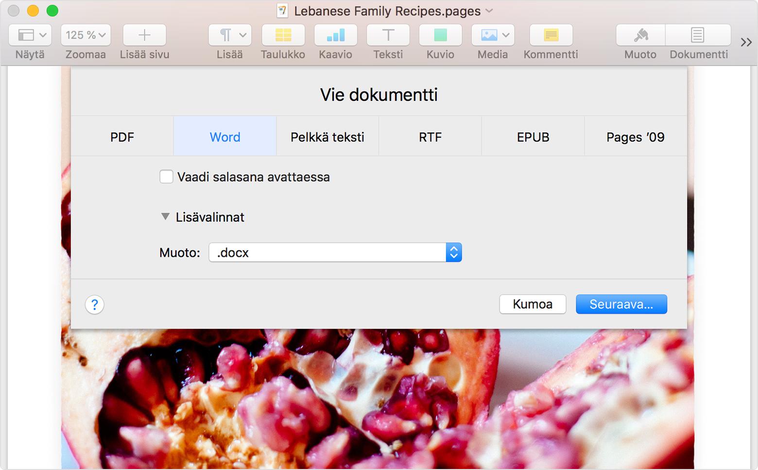 Word asiakirjan muuntaminen pdf files