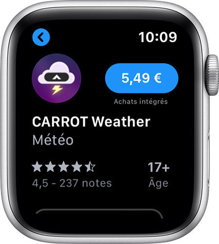 Apple Watch affichant l'app Carrot Weather dans l'App Store.
