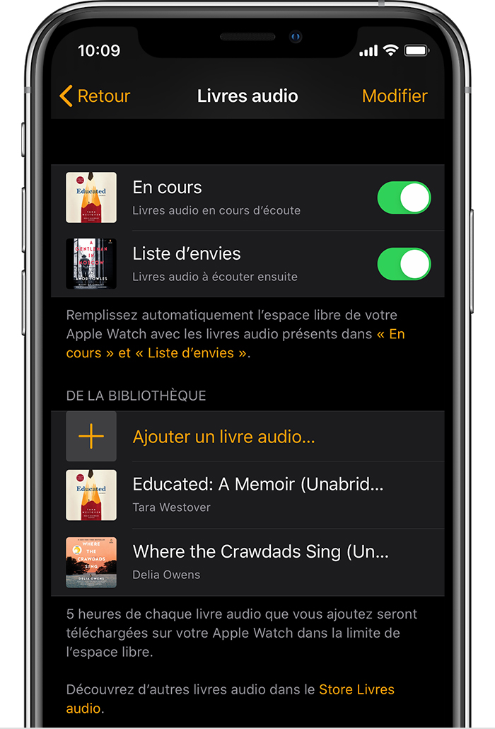 iPhone montrant des livres audio dans l'app Apple Watch