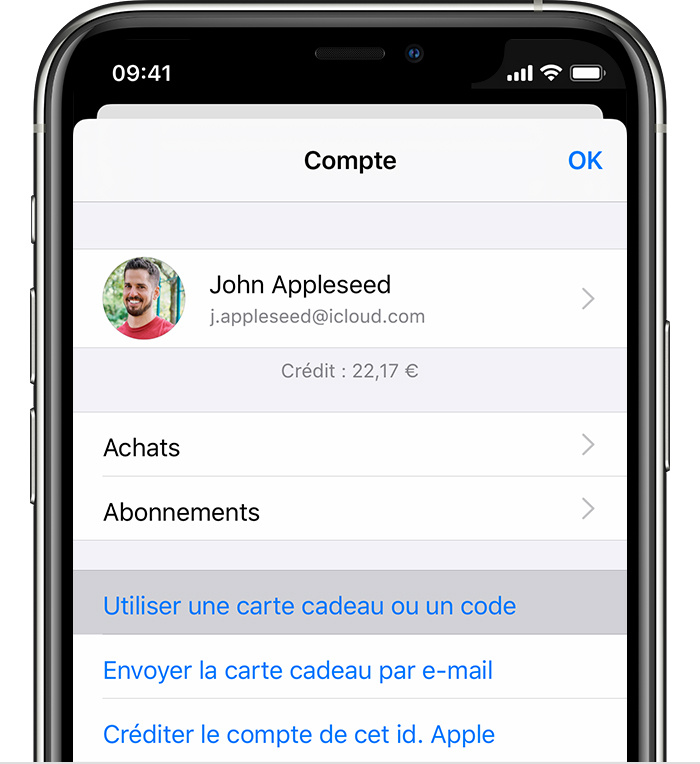 iPhone affichant l'option de menu Utiliser une carte cadeau ou un code.