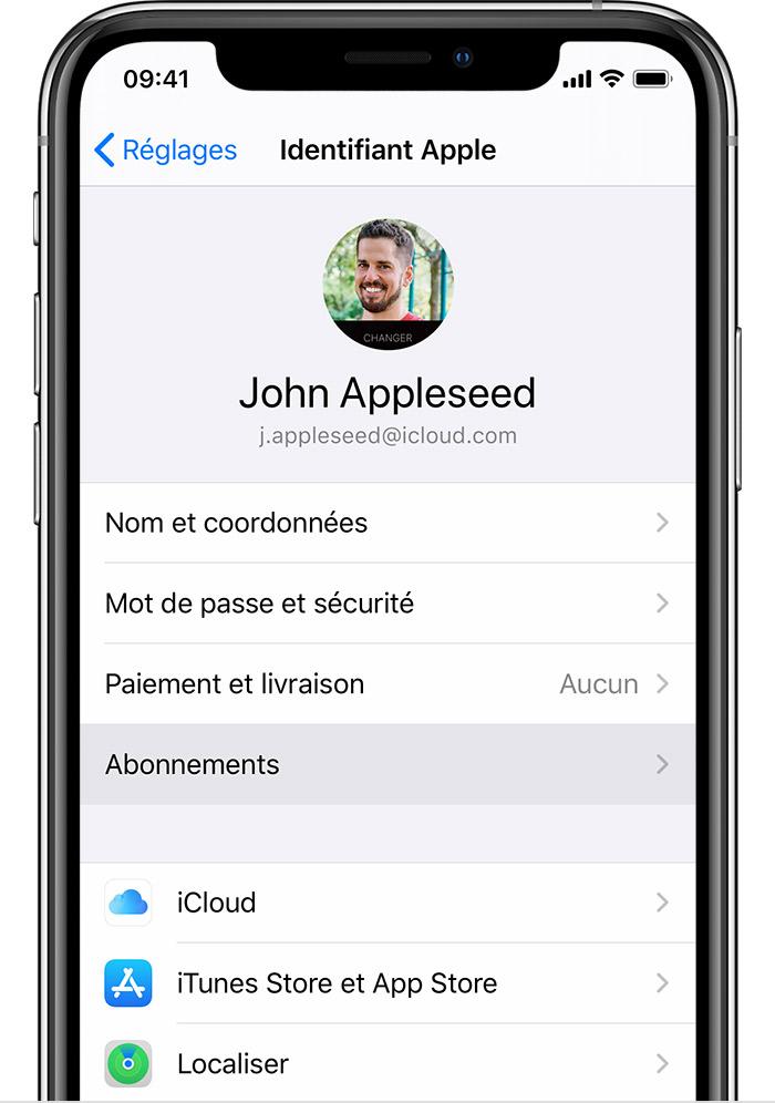 iPhone indiquant où vous pouvez trouver les abonnements dans Réglages.