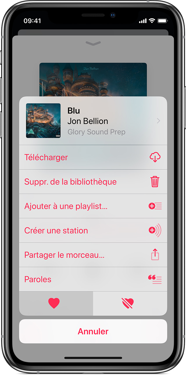Un iPhone X affichant le menu Plus d'options pour la chanson « Magic City » de Gorillaz dans l'app Musique.