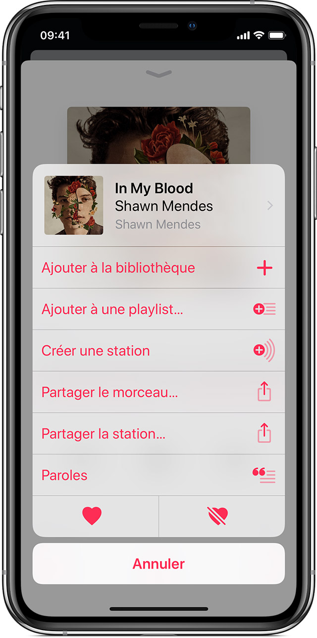iPhone X avec Apple Music ouvert sur le menu Plus d'options du morceau « Lucky Escape » de Palo Santo.