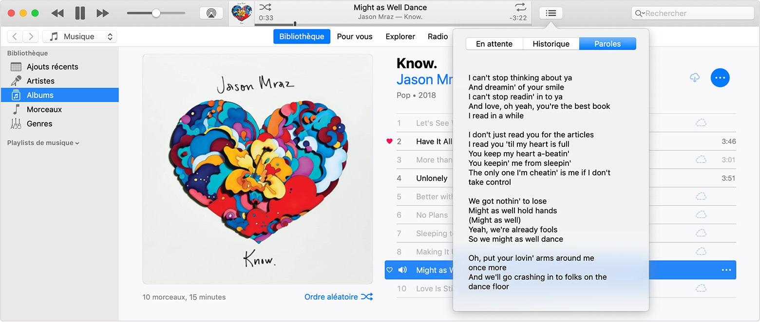 Une fenêtre iTunes avec le menu Paroles ouvert aux paroles du morceau de Jason Mraz « Might As Well Dance ».
