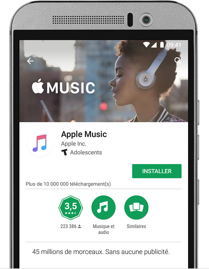 abonnement apple music sur votre t l phone android assistance apple. Black Bedroom Furniture Sets. Home Design Ideas