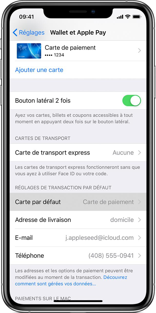 Gestion Des Cartes Que Vous Utilisez Avec Apple Pay