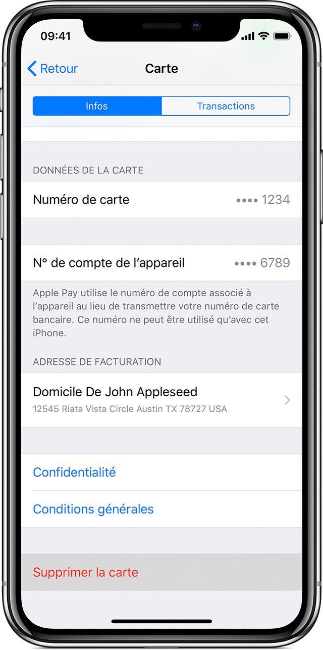 Supprimer une carte sur iPhone ou iPad