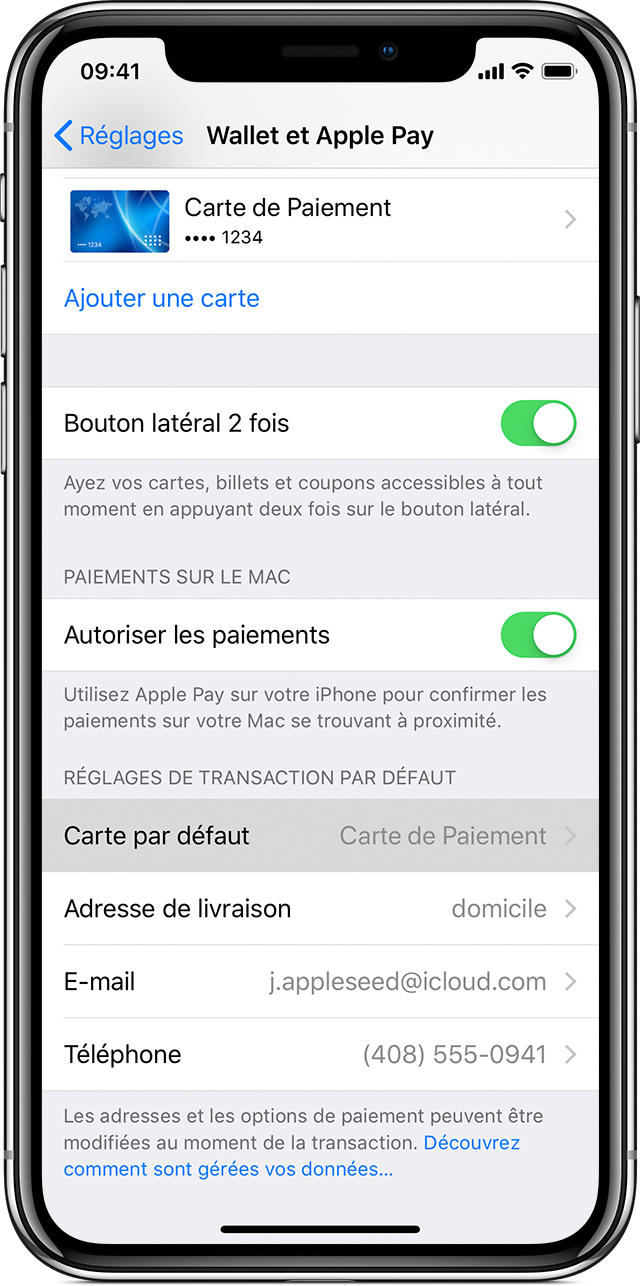 Carte Apple Pay par défaut sur iPhone ou iPad