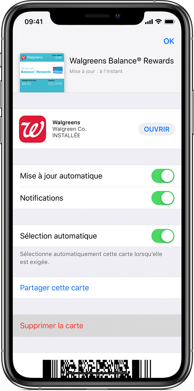 Écran de suppression de cartes, billets ou coupons de l'app Wallet