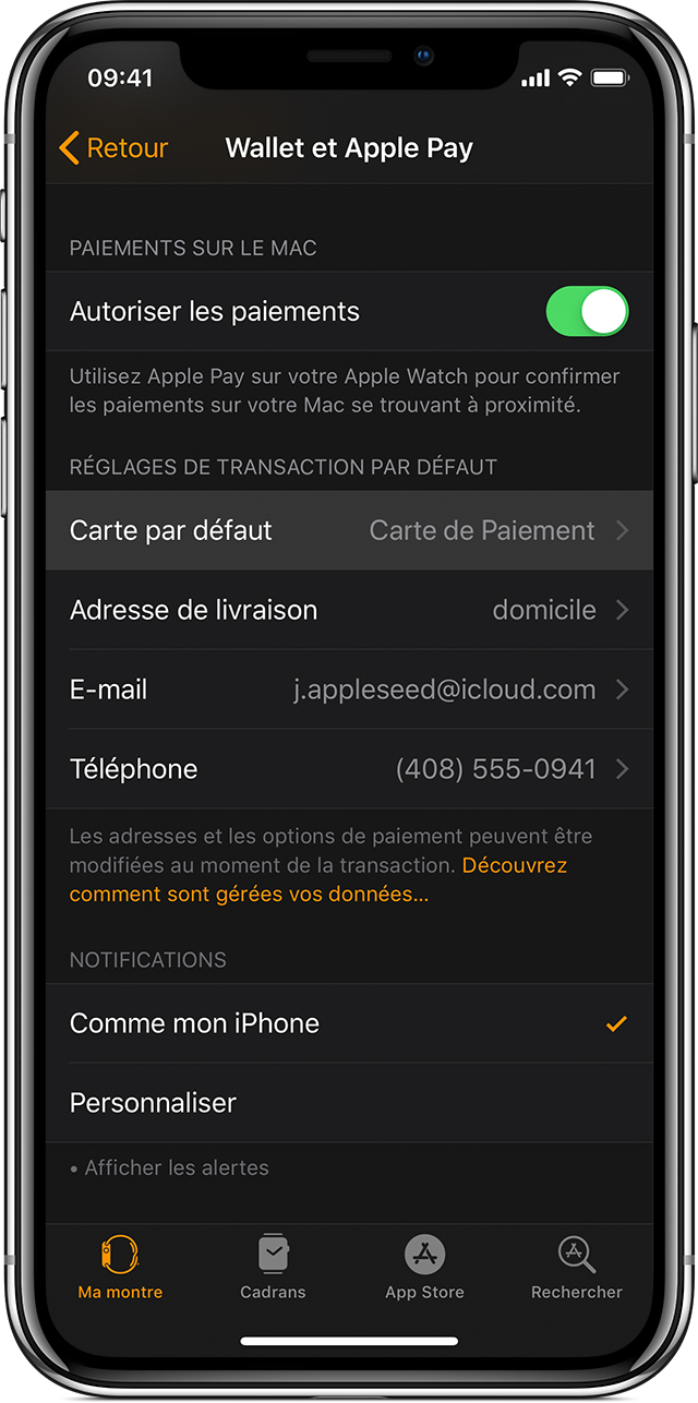 Carte Apple Pay par défaut pour Apple Watch